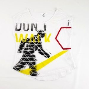 Reebok Run Walk White Graphic White Athletic Top